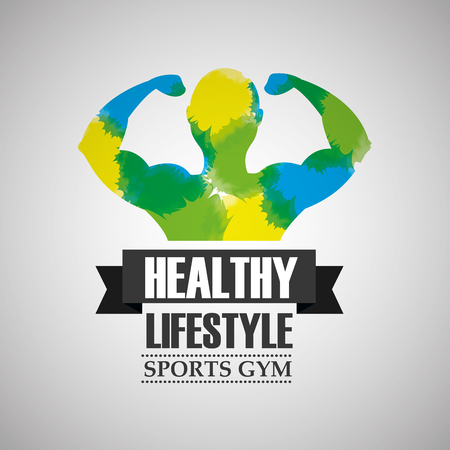 bodybuilder strong man in watercolour color healthy lifestyle sport gym vector illustration Ilustração