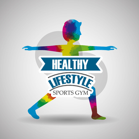 athletic man in splashes colors healthy lifestyle sport gym vector illustration