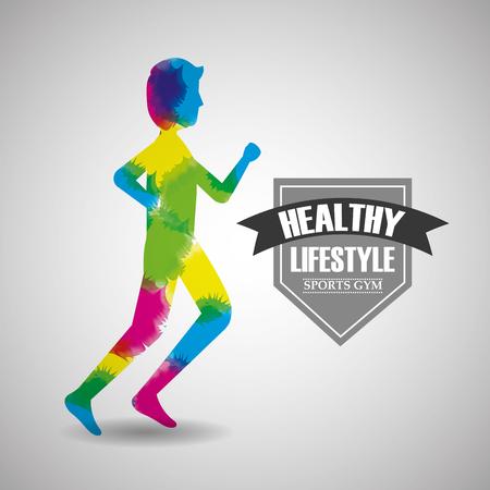 runner man in watercolour splashes healthy lifestyle sport gym vector illustration Illustration