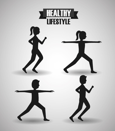 man and woman stretching runner healthy lifestyle sport gym vector illustration
