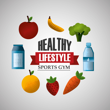 healthy lifestyle sport gym fresh food and water vector illustration
