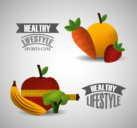 healthy lifestyle sport gym fruit vegetables measuring tape vector illustration