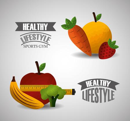 healthy lifestyle sport gym fruit vegetables measuring tape vector illustration
