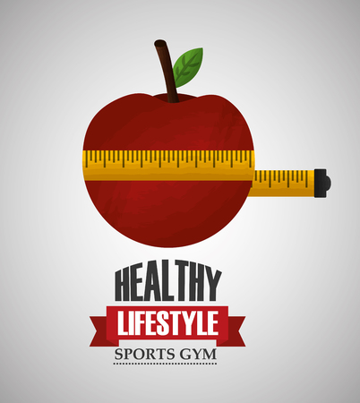 healthy lifestyle sport gym measuring tape around fresh apple vector illustration