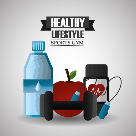 healthy lifestyle sport gym apple watch barbell bottle water vector illustration Illustration