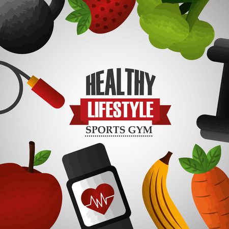 healthy lifestyle sport gym food equipment poster vector illustration