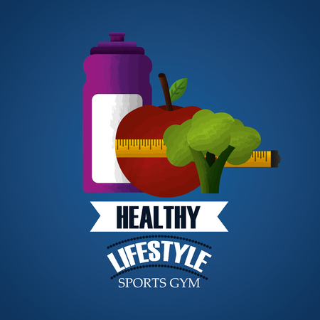 healthy lifestyle sport gym meauring tape apple broccoli and bottle water vector illustration Ilustração