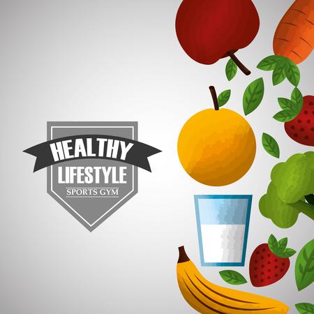 健康的なライフスタイルスポーツジム新鮮な栄養食品ベクターイラスト  イラスト・ベクター素材