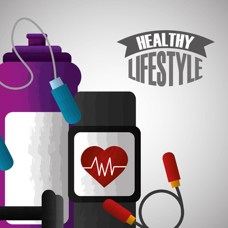 healthy lifestyle sport gym fitness bodybuilding vector illustration
