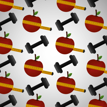 healthy lifestyle sport gym lose weight barbell background vector illustration