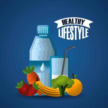 healthy lifestyle sport gym balanced diet fresh food vector illustration