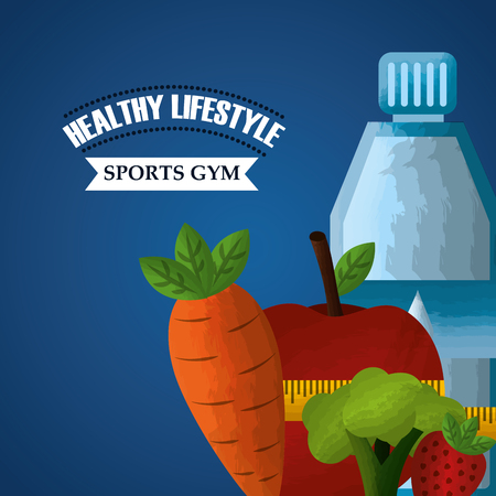 healthy lifestyle sport gym dieting nutrition weight loss vector illustration
