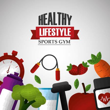 healthy lifestyle sport gym activity fresh dieting vitamins food vector illustration