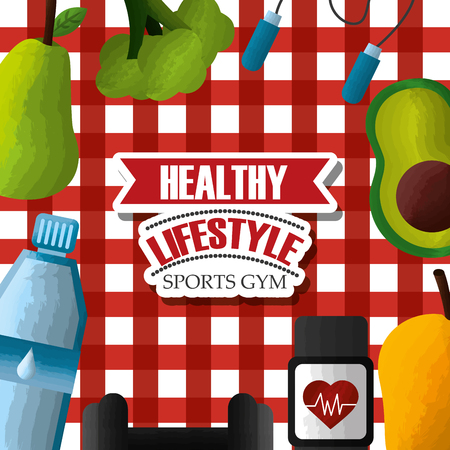 healthy lifestyle sports gym fresh food fitness technology tablecloth background vector illustration Illusztráció