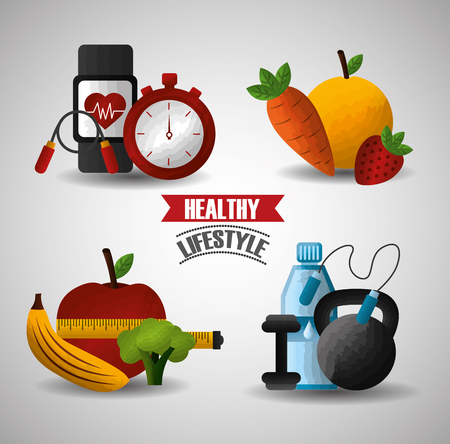 healthy lifestyle sport gym fitness fresh food nutrition vector illustration