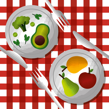 vegetables and fruits on dishes fork knife on tablecloth vector illustration