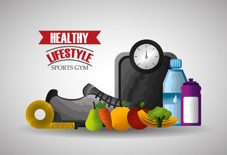 healthy lifestyle sports gym food and equipment vector illustration Illustration