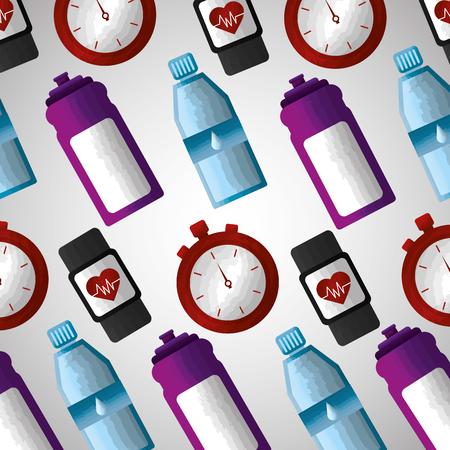 fitness sports vitamin water smart watch chronometer background vector illustration