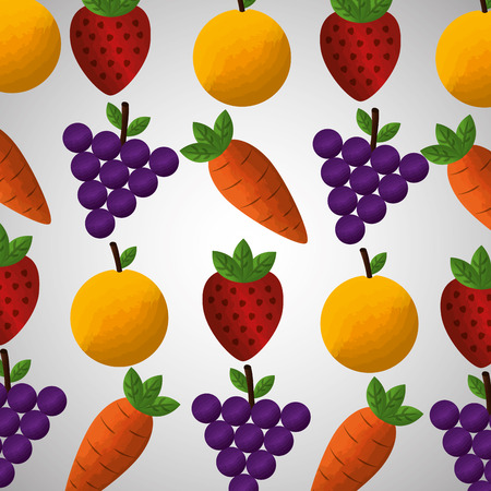 healthy foods dieting carrot grape strawberry orange pattern vector illustration