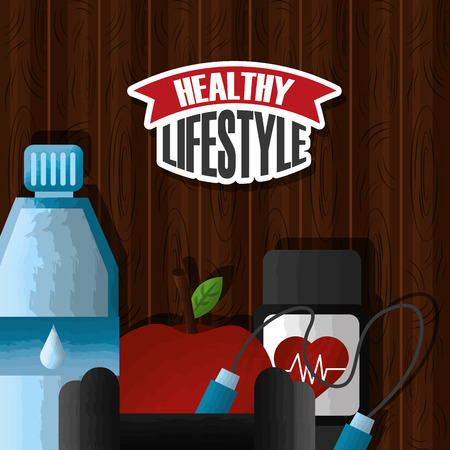 healthy lifestyle sport food activity on wooden background vector illustration