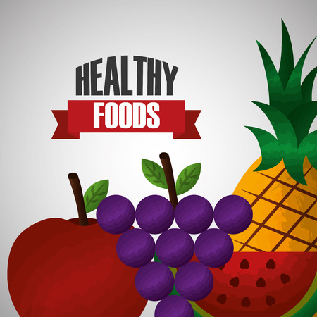 healthy foods diet fruits apple grape pineapple watermelon vector illustration
