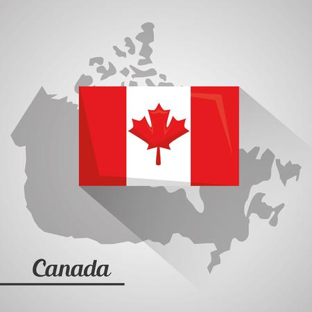 カナダ国旗国民地図エンブレムベクトルイラスト