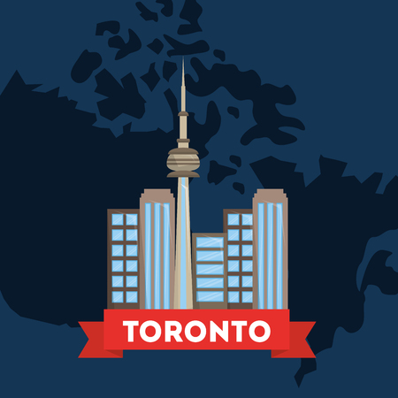 canada toronto city on country map blue background vector illustration