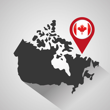 canada pointer map location flag vector illustration