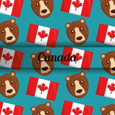 canada flag and bear national symbols background vector illustration Stock Illustratie