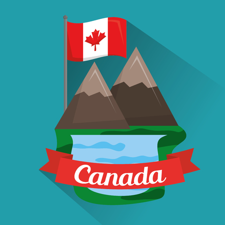 lake in the mountains canadian flag vector illustration