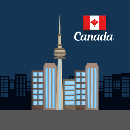 toronto city skyline skyscrapers flag canadian vector illustration 일러스트