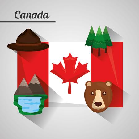 flag canada ranger hat pines lake mountains bear vector illustration Illustration
