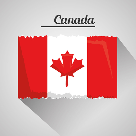 canadian grunge flag national with shadow vector illustration Illusztráció