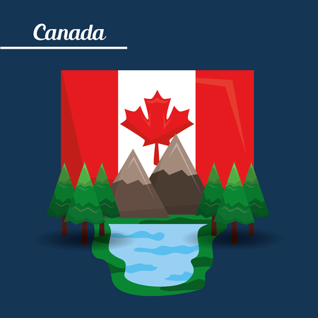 canada mountain lake pine and flag vector illustration