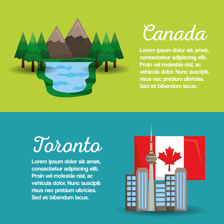 canada toronto flag mountain lake banners design vector illustration 向量圖像