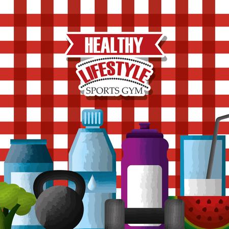 健康的なライフスタイルスポーツジムビタミンフルーツ野菜体重フィットネスチェッカーテーブルクロス背景ベクトル図