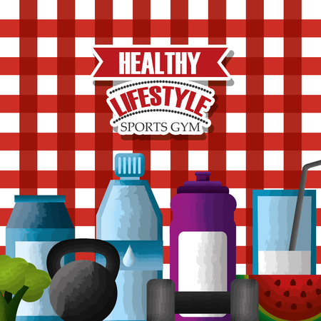 healthy lifestyle sports gym vitamins fruit vegetable weight fitness checkered tablecloth background vector illustration