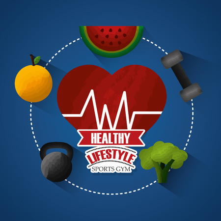 healthy lifestyle sports gym heart beat weight loss fruit vegetable vector illustration