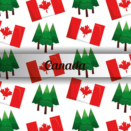 canada background flag and pine trees vector illustration Illustration