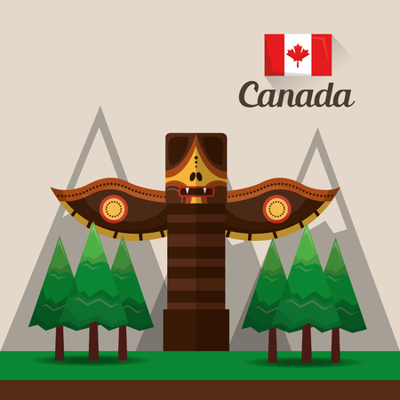 canadian ancient totem pine mountains flag vector illustration