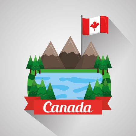 canadian flag mountains lake landscape natural vector illustration 일러스트