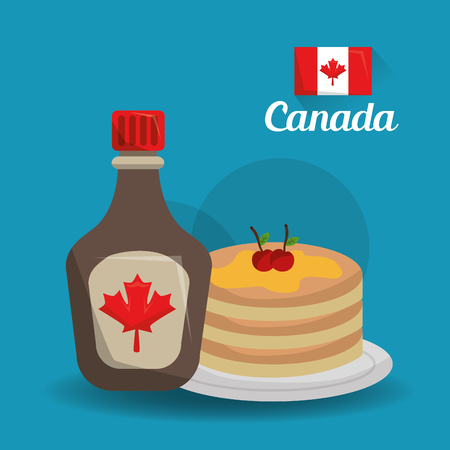 canada country american food traditional pancakes and maple syrup vector illustration