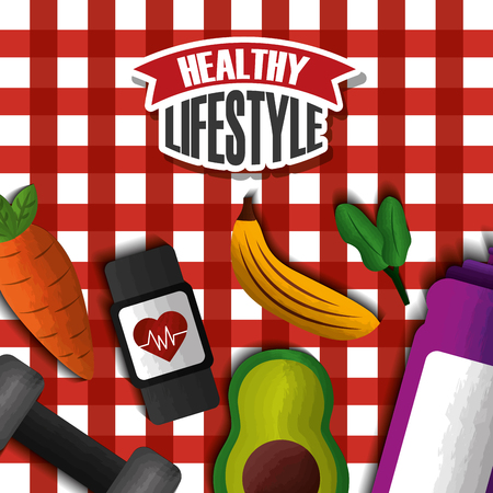 healthy lifestyle sport avocado banana carrot barbell vitamins tablecloth vector illustration Stock fotó - 98191007