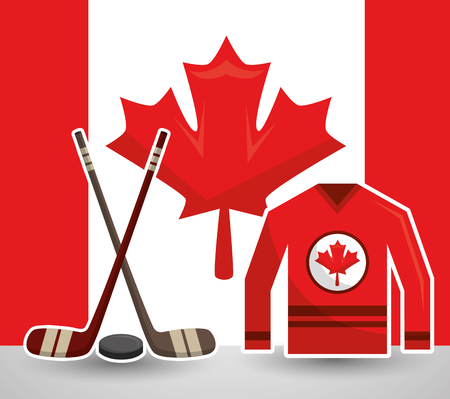 ice hocket sticks puck jesrsey canadian vector illustration