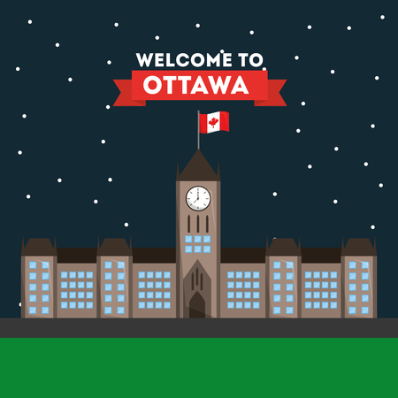 welcome ottawa parliament building architecture national vector illustration