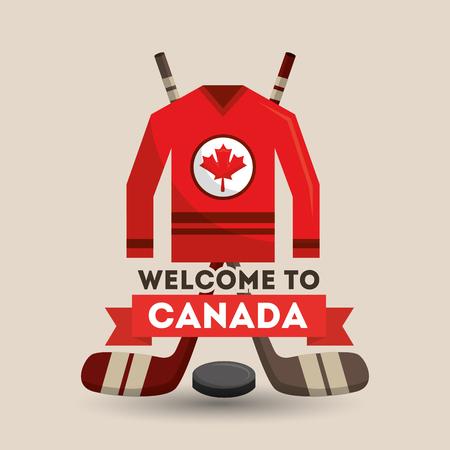 welcome canada ice hocket jersey sticks puck poster vector illustration Ilustração