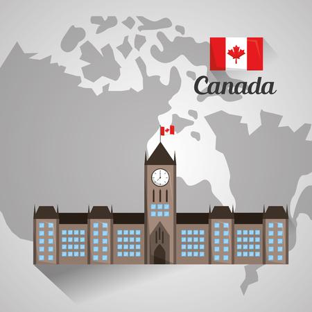 カナダ地図ベクトル図上のオタワ議会の建物