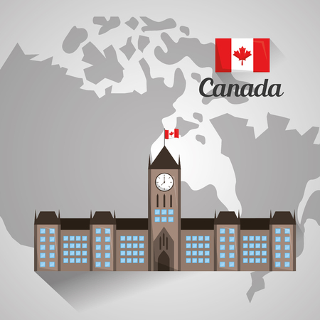 ottawa parliament building on canada map vector illustration