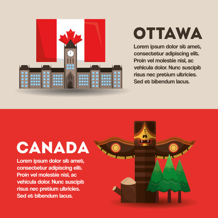 national monuments banners information ottawa and canada vector illustration
