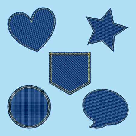set of denim patches shaped heart bubble star circle vector illustration Çizim
